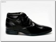 Ботинки мужские кожаные, черные с островатым