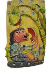 """Картина из дерева - """"Мы с козой едим арбуз"""""""