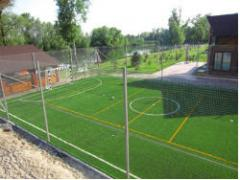 Minisoccer field with a marking for a tennis court