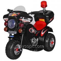 Мотоцикл M 3576-2, 1шт, 1мотор15W, аккум6V/4,5AH, полиция, муз, звук, свет, нагр.до 25кг, черный