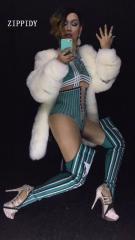 Сексуальный зеленый обтягивающий комбинезон для певиц, танцовщиц