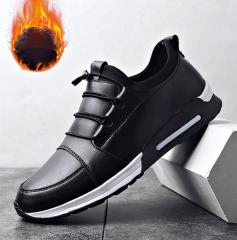 Кожанная, теплая, спортивная прогулочная обувь на плоской подошве-(Slip-On)