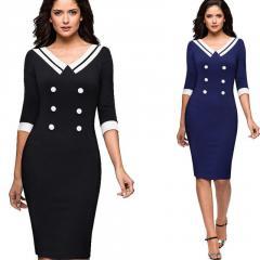 Облегающее платье в деловом стиле-(Контрастность)