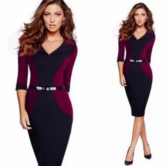Облегающее платье в деловом стиле-сv-образным