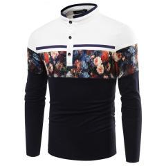 Мужские дышащие рубашки с принтом цветочной печати-(Хлопок)