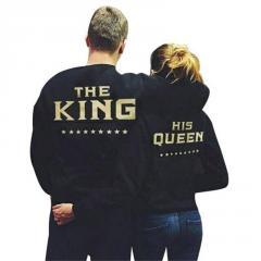 Женские толстовки-(King Queen) с принтом золотыми буквами и капюшоном.
