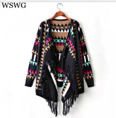 Модный вязаный кардиган с кисточками для женщин с геометрическим принтом с длинным рукавом.