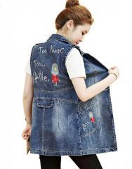 Демисезонный джинсовый жилет с вышивкой для женщин.