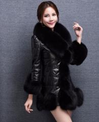 Кожаное пальто с мехом лисы для женщин