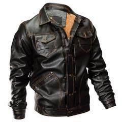Зимняя тактическая кожаная летная куртка-(Военная
