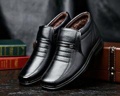 Брендовые зимние мужские туфли из натуральной кожи-(Снегоступы)