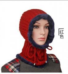 Вязаная, меховая, утолщенная, шерстяная шапка шарф для женщин и мужчин.