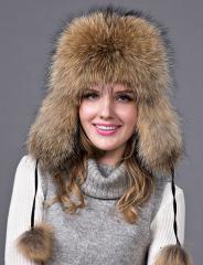 Женские теплые шапки с мехом Енота.