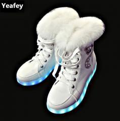 Зимняя светящаяся обувь-(Yeafey) с мехом./зар