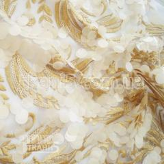 Mesh fabric with embroidered sequin (gold)