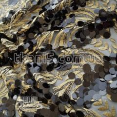 Cloth Mesh embroidered sequins (black)