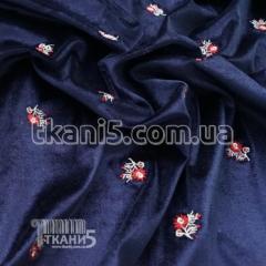 Cloth Stretch velvet embroidery (dark blue)
