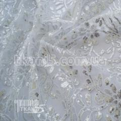 Ткань Пайеточная ткань цветы ( серебро на белом )