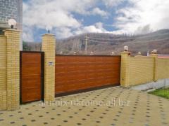 Ворота алюминиевые откатные въездные Алютех
