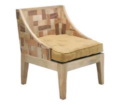 A natural tree chairs from the producer under the