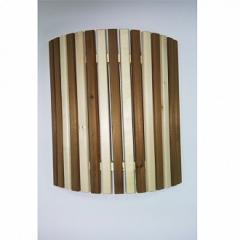 Ограждение светильника угловое рейка/липа с термовставкой Зебра для бани и сауны
