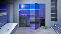 Стеклянная перегородка в сауну, хамам, спа с рисунком 2200х3000мм