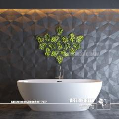 Concrete tile with accents of stabilized Moss TM