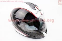 Шлем закрытый HF-122 S- ЧЕРНЫЙ глянец с белой
