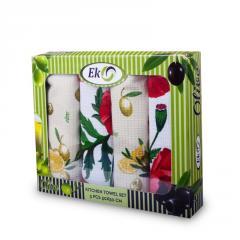 Подарунковий набір рушників кухонний вафельний 4