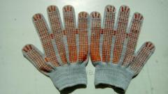 Рабочие перчатки с ПВХ точкой 13 класс