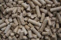 Wood coniferous pellets with a diameter of 6 and 8