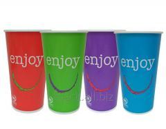 Стакан паперовий для холодних напоїв, Enjoy, мікс кольорів, 500мл