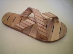 Slippers for a sauna, slippers and sandals on a