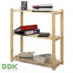 Деревянный стеллаж для дома и офиса DDK ВASIC3, на 3 полки