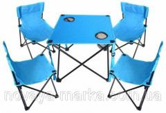 Folding table and 4 fabric chairs with backrest