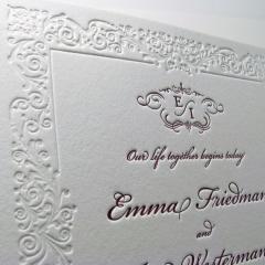 Пригласительные на свадьбу высокой печатью с каллиграфией 013