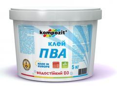 Водостойкий клей для древесины ПВА D3 Kompozit®
