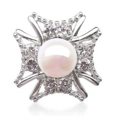 Ring silver with pearls and cubic zirconias -