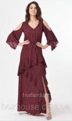 Вечернее платье в пол с рюшами Rica Mare