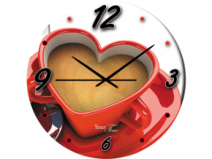 Часы настенные стекло, кофе