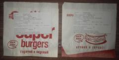 Уголок бумажный белый крафт Super Burgers 140х140