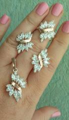 Комплект ювелирных украшений из серебра с