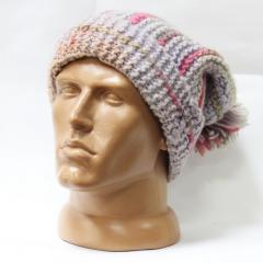 Шерстяная шапка вязаная полоса помпон высокая