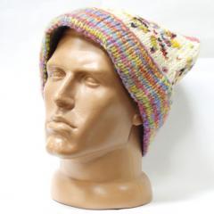 Шерстяная шапка вязаная с подворотом помпон узор