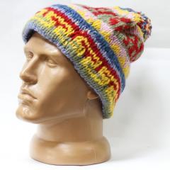 Шерстяная шапка вязаная с подворотом узор помпон