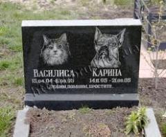 Памятники надгробные для животных, собак, кошек от
