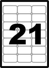 Наклейки А4 21шт(63,5х38,1мм), закругленные углы