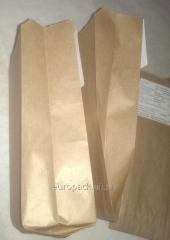 Бумажный пакет для хлеба 220х100х50 крафт бурый
