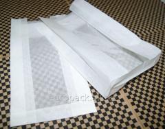 Бумажный пакет белый крафт 290х140х50 с полипропиленовой прозрачной вставкой 60 мм