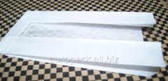 Бумажный пакет белый крафт 220х100х50 с полипропиленовой прозрачной вставкой 40 мм